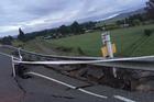 SH1 damage at Parnassus in North Canterbury. Photo / Kurt Bayer