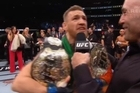 Footage from Sky. Conor McGregor knocked out Eddie Alvarez in the second round to win the UFC lightweight title and become the first two-class champion in the promotion's history.McGregor dominated from the opening bell of the main event of UFC 205 at Madison Square Garden and the sold-out crowd roaring with each blow. McGregor is now the reigning featherweight and lightweight champ.