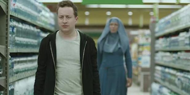 A screencap from Sodastream's bizarre new ad.