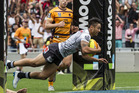 Shaun Johnson scores the winning try against the Brisbane Broncos during the 2016 NRL Nines. Photo / Greg Bowker