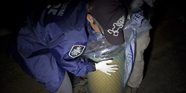 About 90 litres of the drug was discovered onboard last Friday morning. Photo / Australian Federal Police
