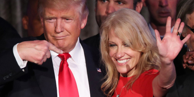Loading Donald Trump flanked by campaign manager Kellyanne Conway on election night at the New York Hilton Midtown. Photo / Getty Images