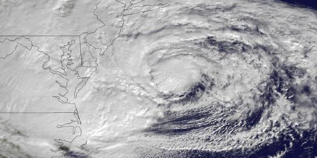 Hurricane Sandy off the Mid Atlantic coastline moving towards New York City in 2012. Photo / AP