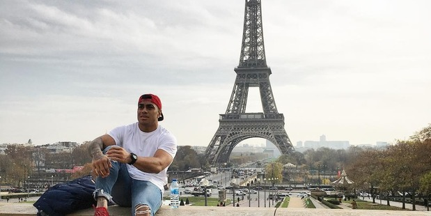 Loading Malakai Fekitoa was among several All Blacks to pose with the most well-known building in Paris, the Eiffel Tower. Photo / Malakai Fekitoa Instagram.