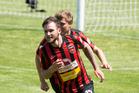 Canterbury's Stephen Hoyle celebrates his injury time goal against Hawkes Bay. Photo / Photosport