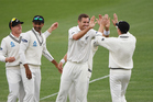 Tim Southee and the Black Caps celebrate their success against Pakistan's top order. Photo / photosport.nz