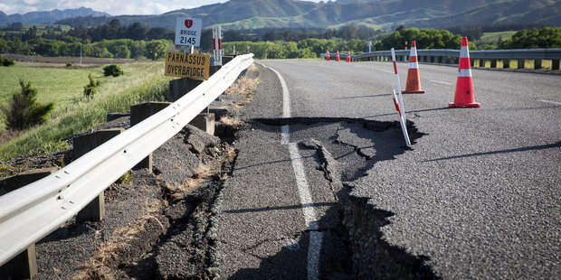 SH1 toward Kaikoura from the south is a wild ride over cracked seal and gaping holes. Photo / Mike Scott