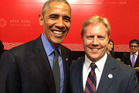 NZ Minister for Trade and Rotorua MP, Todd McClay with outgoing US President Barack Obama at APEC this week.  Photo/Supplied