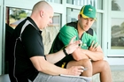 CHEW ON THIS: NZC nutritionist Gavin Clearkin offers Ben Wheeler advice. PHOTO/Warren Buckland