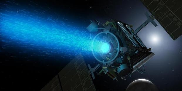 An artist's impression of the Dawn space probe approaching the dwarf planet Ceres. It is propelled by an ion engine using charged particles from Xenon gas fuel. Picture: NASA / Caltech