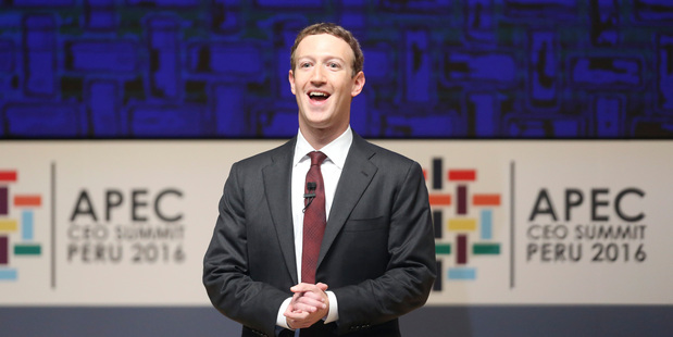 Facebook founder Mark Zuckerbeg speaks at the APED Summit in Peru. Photo / AP