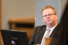 Paul Bublitz sits in the High Court at Auckland during the opening morning of the trial against him and three colleagues from finance companies Viaduct Capital and Mutual Finance.