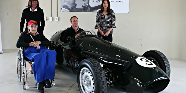 BRUCE Wilson with Tish, Georgie and James Amon and the Maserati 250F. Photo: ALECIA ROUSSEAU
