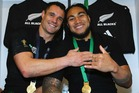 Dan Carter (L) celebrates winning the rugby World Cup with Ma'a Nonu. Photo / Getty Images.