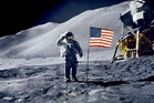 David Scott salutes flag during Apollo 15 mission. Photo / Getty Images