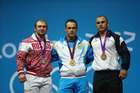 All three medalists from the men's 94kg event at the London 2012 Olympics - Alexandr Ivanov (L), Ilya Ilyin (C), and Anatoli Ciricu - have been stripped of their medals. Photo / Getty Images