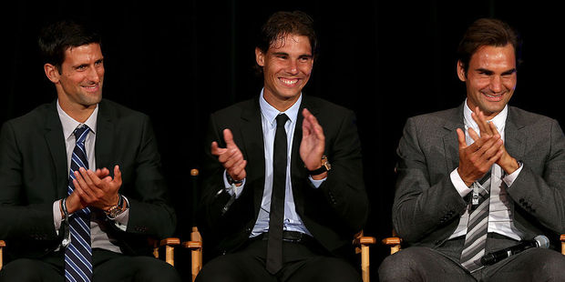 Novak Djokovic of Serbia; Rafael Nadal of Spain and Roger Federer of Switzerland. Photo / Getty Images