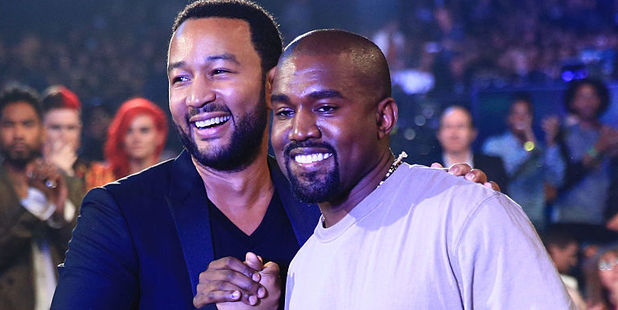 Recording artists John Legend and Kanye West. Photo / Getty Images