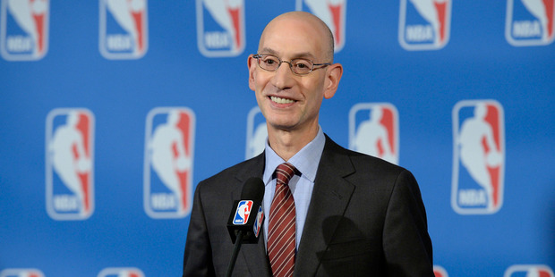 NBA Commissioner Adam Silver speaks to the media. Photo / Getty Images