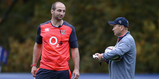 England coaches Steve Borthwick and Eddie Jones at an England training session. Photo / Getty Images