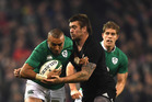 Liam Squire makes a tackle on Ireland's Simon Zebo during the All Blacks' 21-9 victory in Dublin this morning (NZT). Photo / Getty Images