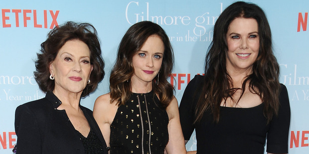 (L-R) Actresses Kelly Bishop, Alexis Bledel and Lauren Graham attend the premiere of Gilmore Girls: A Year in the Life. Photo / Getty