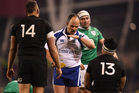 Malakai Fekitoa of New Zealand receives a yellow card from referee Jaco Peyper. Photo / Getty Images