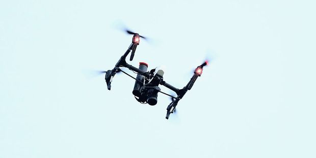 An RFU drone films during the England training session held at Pennyhill Park. Photo / Getty Images
