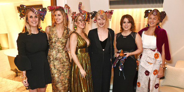 (L to R) Teresa Fitzherbert, Susanna Warren, Ellie Goulding, Alby Bailey, Princess Eugenie of York and Caroline Rupert attended. Photo / Getty