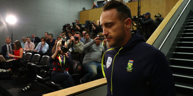 Faf du Plessis arrives to face the music after his ball-tampering charge. Photo / Getty