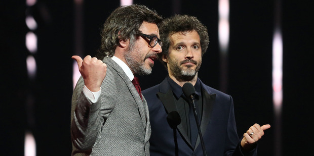 Flight of the Conchords reluctantly present the ARIA Hall of Fame Induction to Crowded House during the 30th Annual ARIA Awards. Photo/Getty