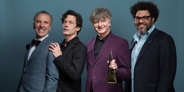 (L-R) Nick Seymour, Mark Hart, Neil Finn and Matt Sherrod of Crowded House pose for a portrait after being inducted into the ARIA Hall of Fame. Photo/ Getty