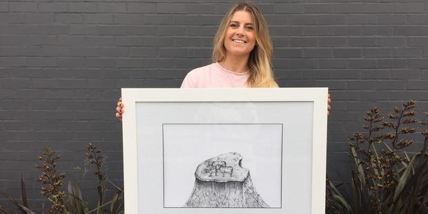 Auckland artist Becca Aiken has turned the island cows image into art to raise money for the Kaikoura earthquakes. Photo / Donna Aiken