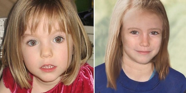 When photos of the woman first appeared, there was speculation she could be Madeleine McCann who disappeared on May 3, 2007 in Portugal. The image right is how she might have looked aged nine.