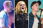 Chris Martin, Adele and Justin Bieber are three of the music superstars coming to Auckland over summer.