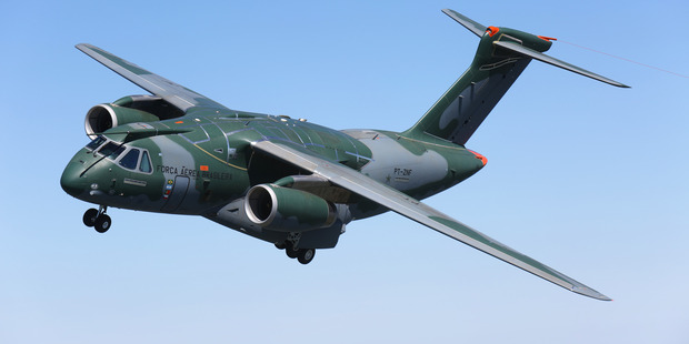Loading Embraer's KC-390 transport plane on a test flight.  Photo / Supplied