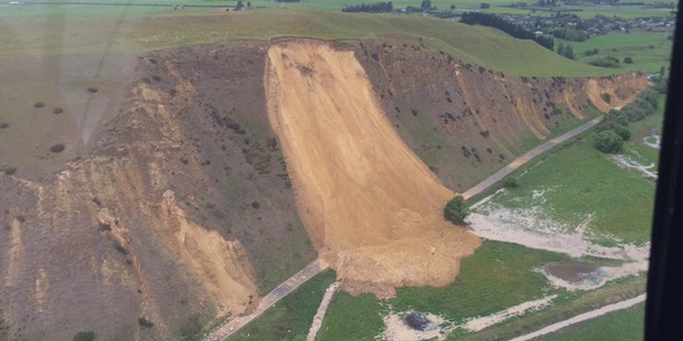 Aerial photo of a slip on State Highway 70 to Waiau. Photo / Sam Smith