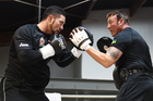 New Zealand Heavyweight Boxer Joseph Parker and trainer Kevin Barry. Photo / Andrew Cornaga