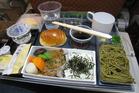 Vegan food aboard a plane. Photo / M Roach