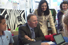 Prime Minister john Key and Mt Roskill by-election hopeful Parmjeet Parmar during a visit to Waikowhai Intermediate School last week.  Photo / NZME