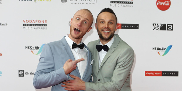 Jono and Ben hosted Vodafone New Zealand Music Awards 2016. Photo / Norrie Montgomery