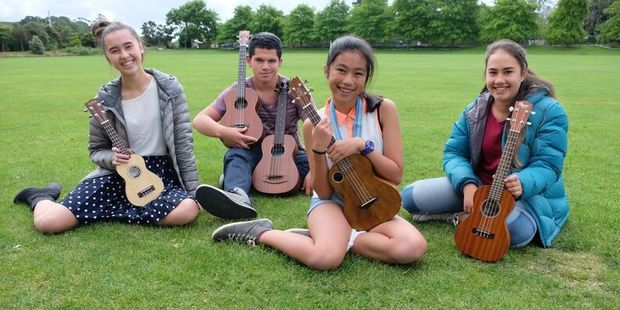 Ukulele players (from left) Caitlin Casey, 14, Allen Karena, 16, Hannah Milo and Muriwai Waata, both 13, are enthusiastic members of the Kiwileles.