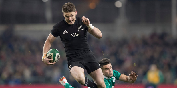 Loading All Blacks first-five Beauden Barrett on his way to score during the test match between the New Zealand All Blacks and Ireland. Photo / Brett Phibbs