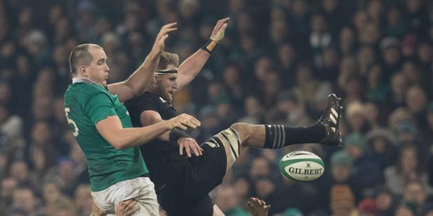 Loading All Blacks captain Kieran Read battling in Dublin. Photo / Brett Phibbs