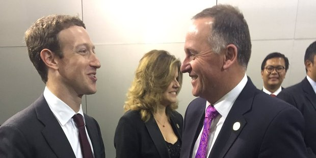 John Key cornered Facebook founder Mark Zuckerberg at the recent APEC summit in Lima where he told reporters he raised the topic of tax.