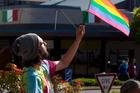 Teach Brian Tamaki Love protest outside Destiny's Church in Rotorua. PHOTO/BEN FRASER