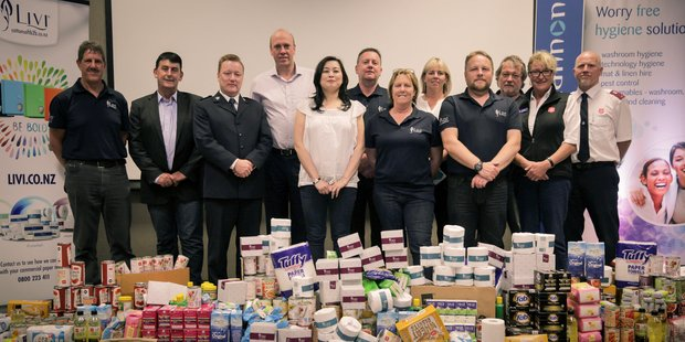 DONATION: The OCS team made a massive donation towards Rotorua Salvation Army's Foodbank. PHOTO/SUPPLIED