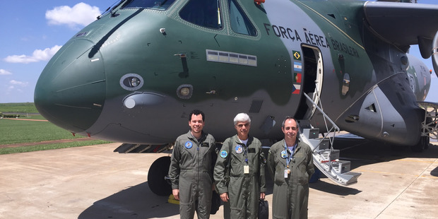 Left to right: Embraer KC-390 military transport plane crew; flighter test engineer Leandro Bigarella, co-pilot, William Souza, pilot Airton Manoel Rodriguez. Photo / Grant Bradley