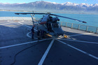 LANDING: A helicopter landed on the HMNZS Canterbury from one of its many flights. PHOTO/SUPPLIED