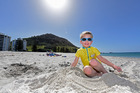 Austin Shooter-Slack, 6, was enjoying the sunny weather down at the Mount yesterday. Photo/George Novak